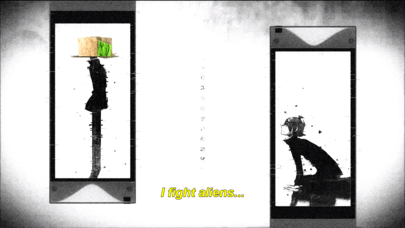 black and white image of two people inside cellphone screens. one a boy on his knees and the other a standing figure with a cardboard box head. subtitle: i fight aliens...