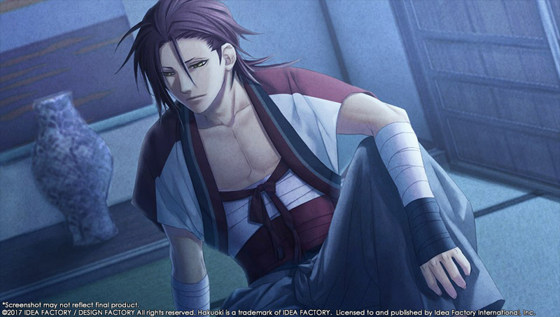 An image of Harada from Hakuoki looking seductive toward the camera