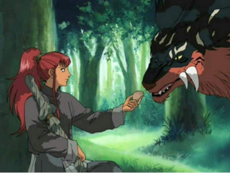 a redheaded woman with a wrapped up sword offering a piece of food to a large catlike monster