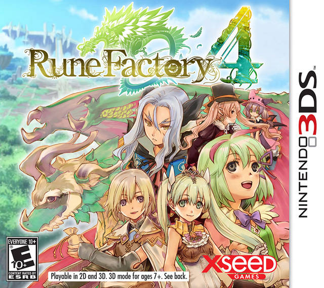 The cover art of Rune Factory 4 featuring several cast members