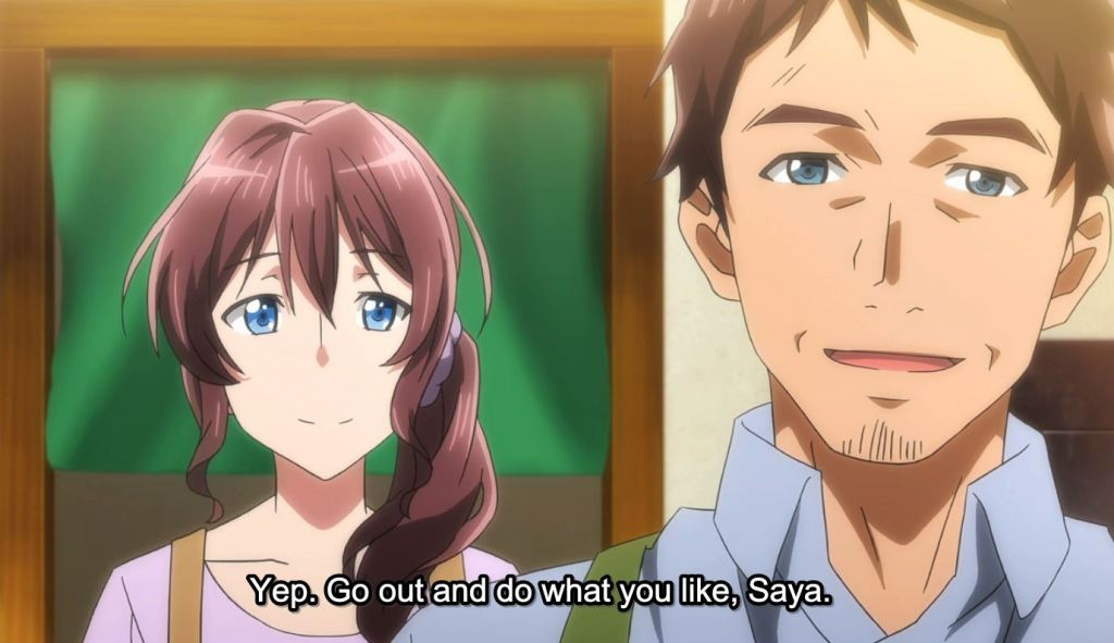 "Saya's mother and father look to the camera. Subtitles: ""Yep. Go out and do what you like, Saya."""