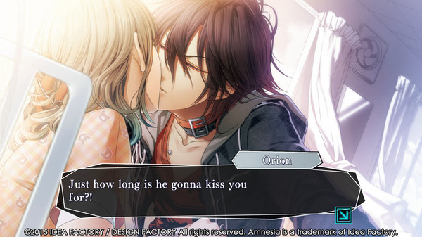 A screenshot of Amnesia with a kiss between the protagonist and a shaggy-haired man. dialogue: Just how long is he gonna kiss you for?!