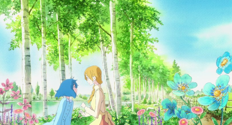 a brightly colored tropical setting with a young woman and a blue-haired girl