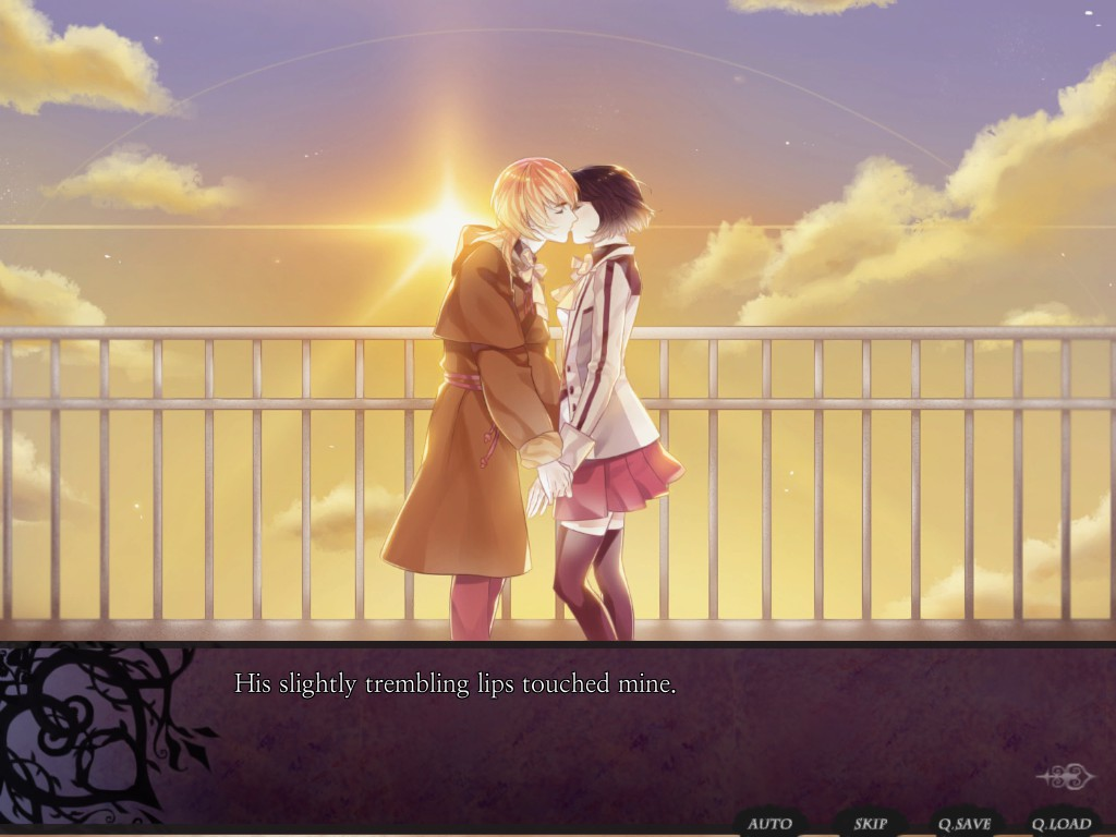 Yeon-ho's good ending from Nameless, a rooftop kiss at sunrise