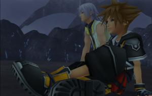 Sora and Riku sitting side by side