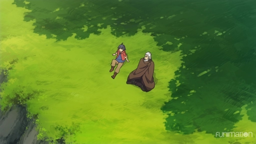 A young boy and an older man in western-inspired fantasy garb sit on a grassy cliff in the shadow of trees.