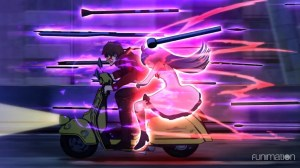 A man rides a motorcycle through a field of glowing black projectiles. A girl rides behind him, glowing purple.