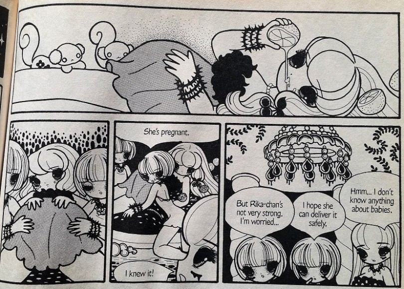 a panel from Pure Trance of several girls fretting over Rika's pregnancy