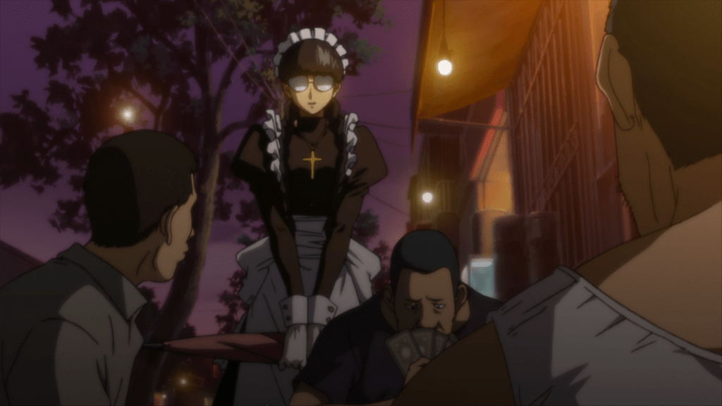 A woman in glasses and a maid outfit approaching a table of men gambling.