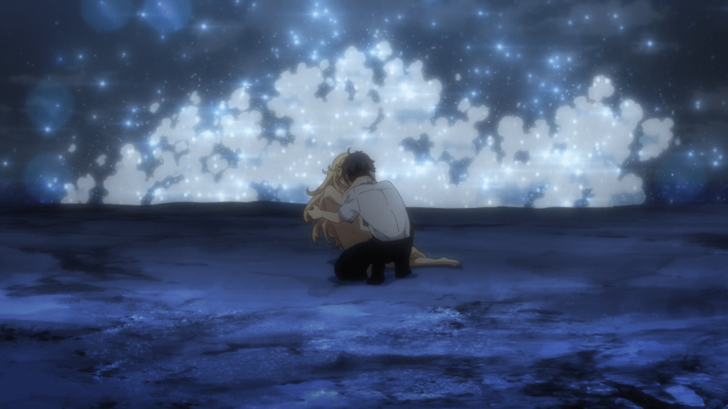Takuya kisses a naked elf girl on the beach, with waves splashing behind them