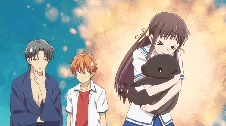 Tohru from Fruits Basket excitedly hugging a boar while Kyo and Shigure look on, deadpan