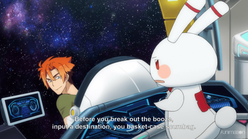 a grinning Hachi looking over a pilot's chair at his rabbit robot butler. subtitle: before you break out the booze, input a destination, you basket-case scumbag