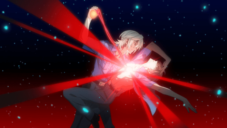 The two cops from SARAZANMAI, one pulling the heart out of the other's chest in a pose reminiscent of Utena