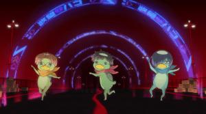 The three leads as kappa, striking a pose