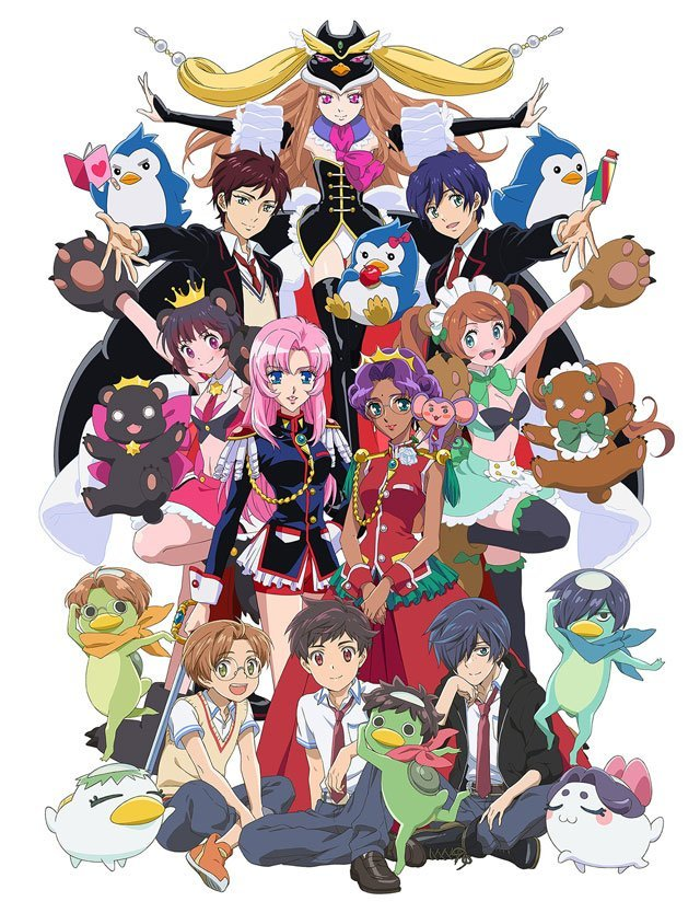 the leads of all of Ikuhara's series, as well as the mascots, standing together in a composed group shot