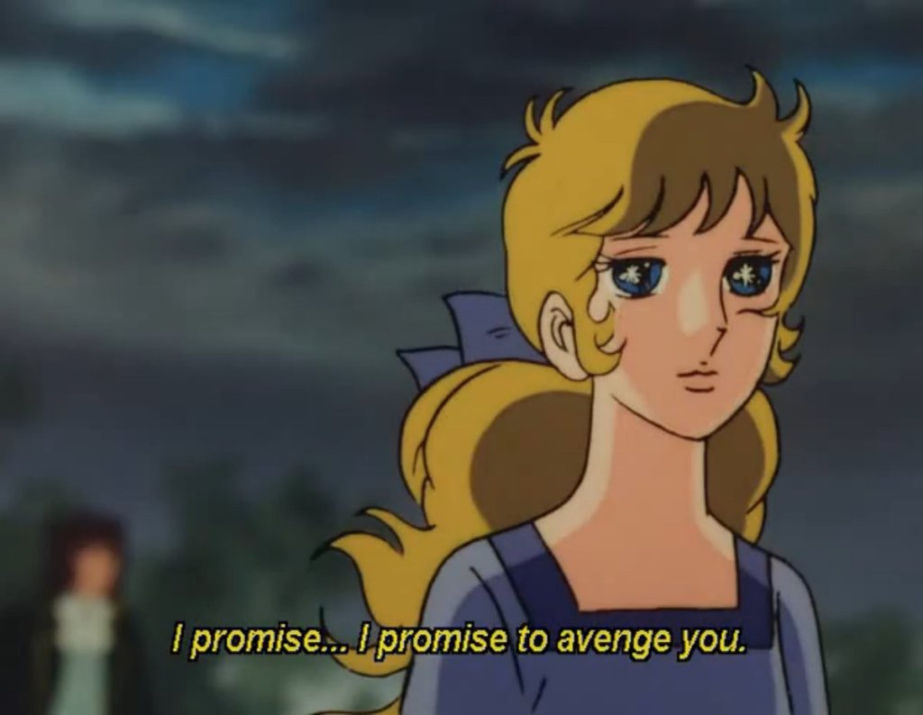 A young blonde woman staring into the distance. subtitle: I promise....I promise to avenge you.