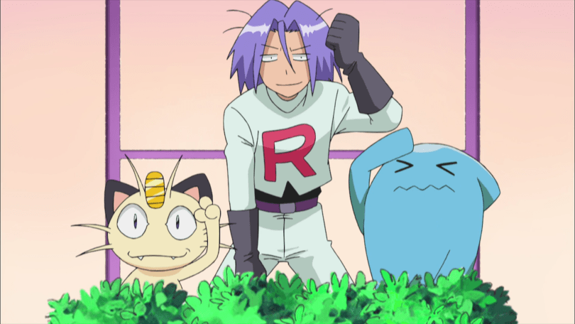 A frazzled James, Meowth, and Wobbuffet raise a hand into the air, as if both tired and motivated all at once