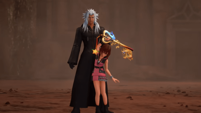 Xemnas holds Kairi by her keyblade arm partway off the ground