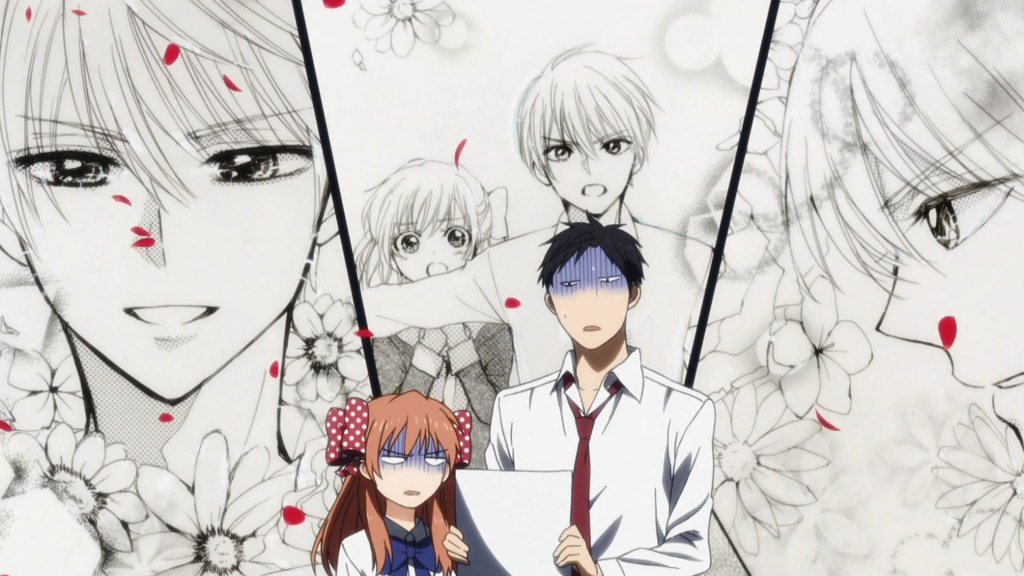 In the foreground, Chiyo and Nozaki look distastefully at a piece of paper. Behind them are three panels done in a traditional shoujo manga style showing a pretty teen boy protecting a teen girl