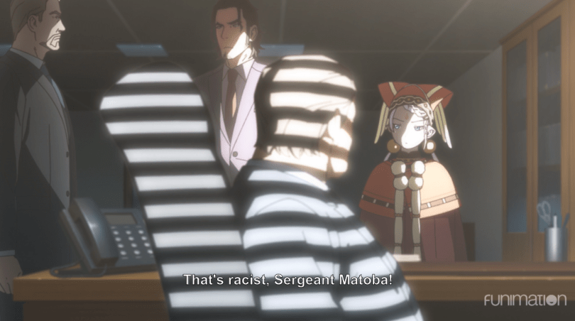 Kei standing at his superior's desk with TIlarna and another officer. subtitle: That's racist, Sergeant Matoba!