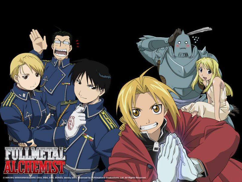A promo image of the main cast from 2003's Fullmetal Alchemist