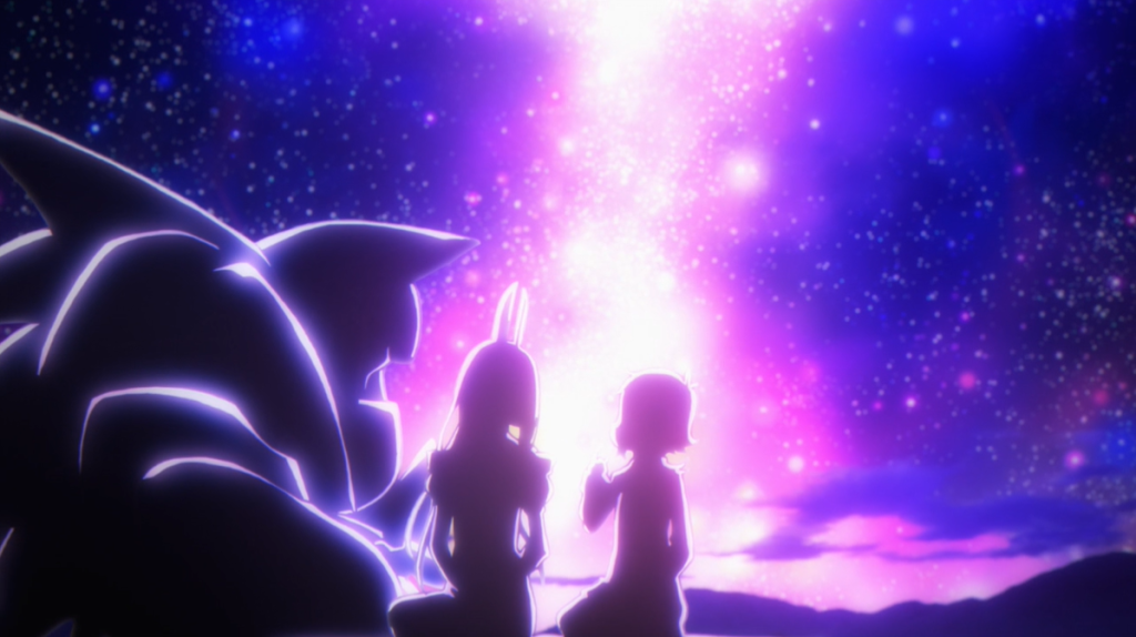 Mangetsu and Shingetsu sitting together, silhouetted by a bright pink light