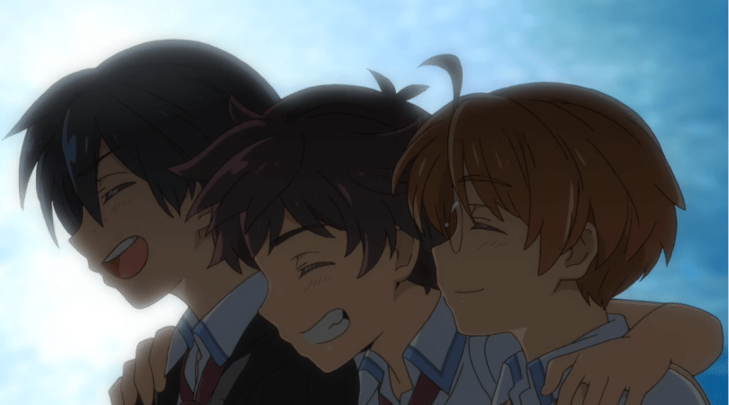 the three leads of Sarazanmai from the shoulders up, smiling