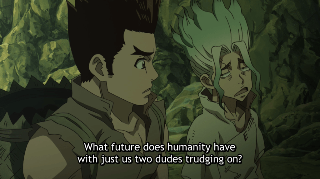 Senku and Taiju talking in a dark cave. subtitle: What future does humanity have with just us two dudes trudging on?