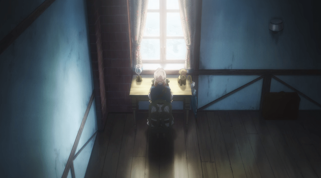 iolet at her typewriter, with a plush dog on her desk, illuminated by sunlight streaming in through an open window
