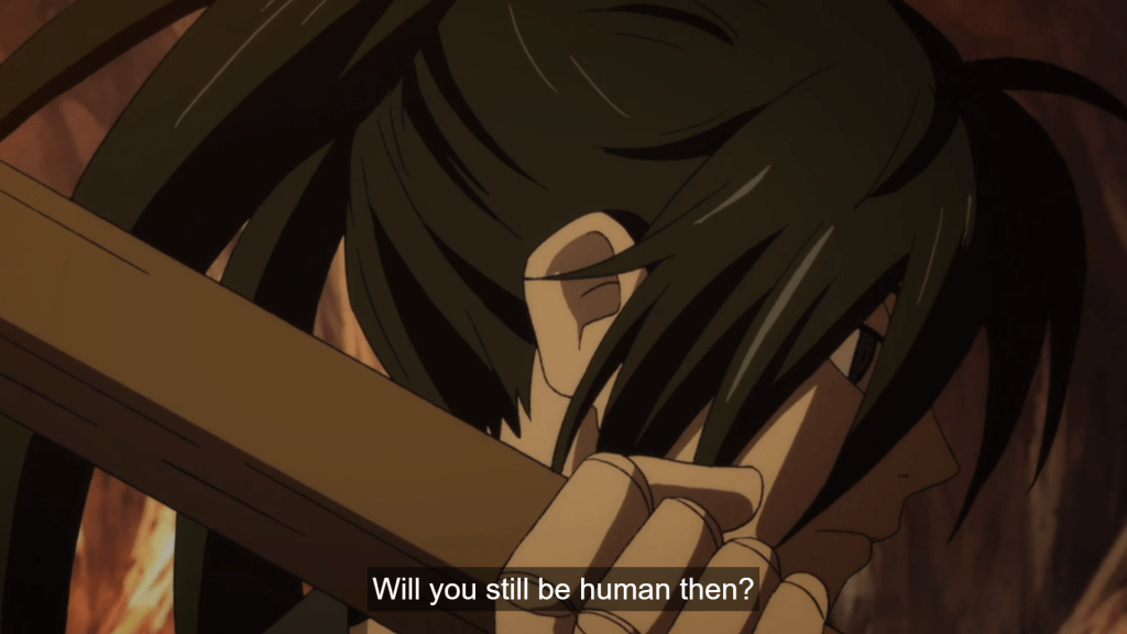 Close-up of Hyakkimaru. subtitle: Will you still be human then?