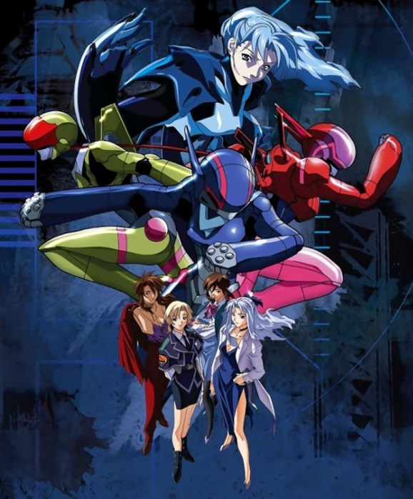 A poster of the four Bubblegum Crisis leads in the foreground in everyday clothes, with the mecha-suits large in the background