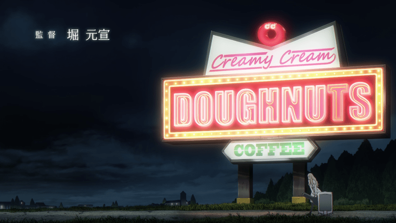 """Glowing neon sign on a dark country road reading """"Creamy Cream Doughnuts Coffee"""""""