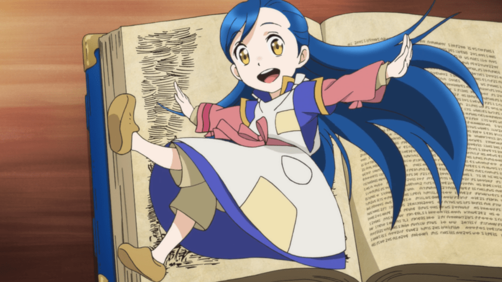 A young girl in a patched dress kicks out her feet. Behind her is an open book on a table.