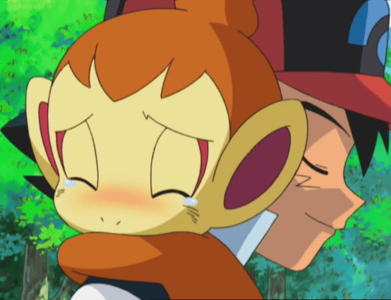 Ash hugs a Chimchar with tears in its eyes.