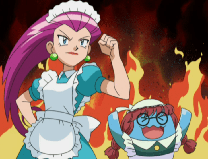 Jessie from Team Rocket and her Wobbuffet are wearing maid uniforms. They clench their fists in determination, flames rising behind them.