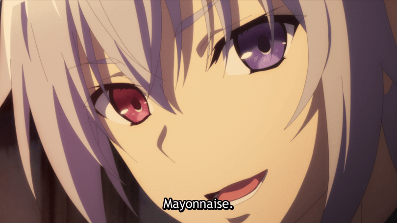 "A boy with multi-colored eyes smiles slightly and says ""Mayonnaise."""