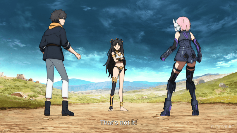 "A young woman in an armored bikini stands between two people in futuristic clothes. Subtitles read ""That's not it!"""