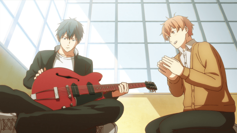 Ritsuka fiddles with a guitar while Mafuyu looks on, clapping, impressed