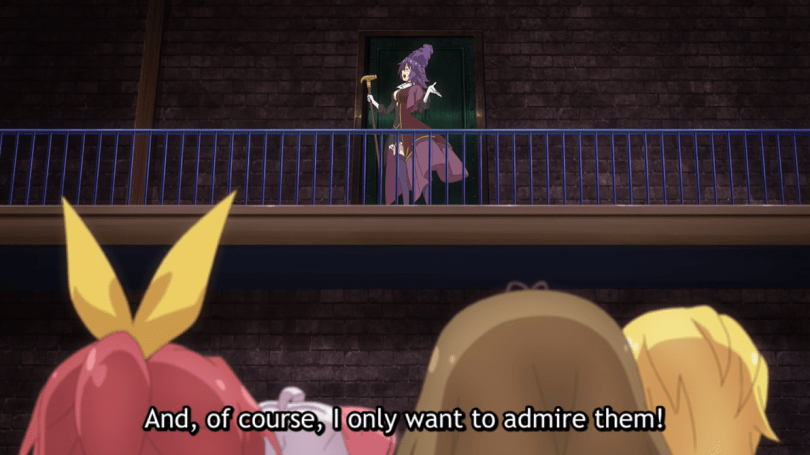 the villain atop a catwalk with the protagonists below. subtitle: And, of course, I only want to admire them.