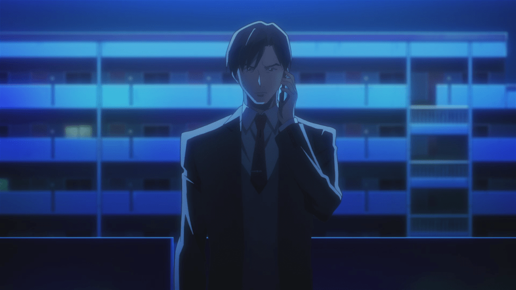 Seizaki outside an apartment at night, holding his cellphone to his ear