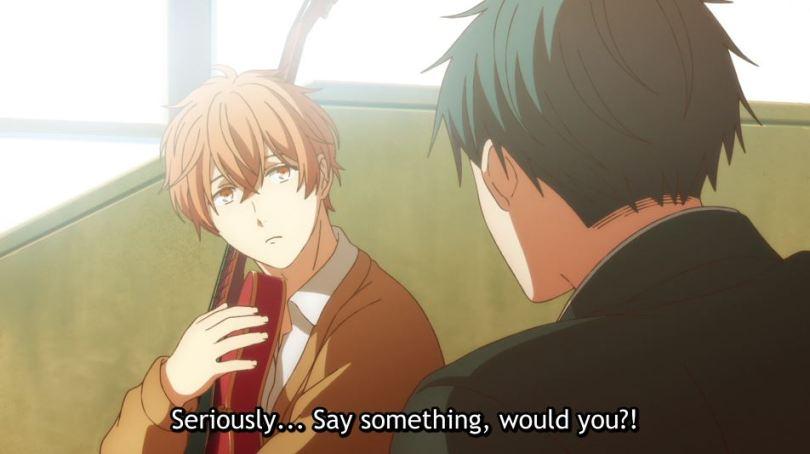 Ritsuka shouting at Mafuyu. subtitle: Seriously... Say something, would you?!