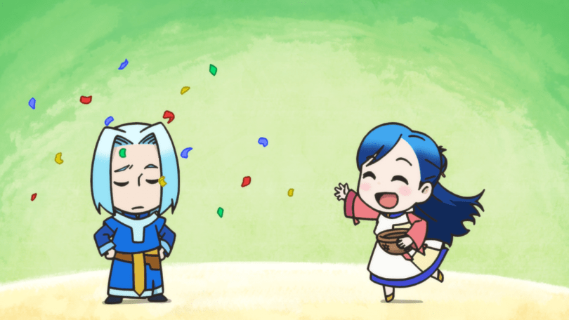 A chibi Main tosses confetti onto a tired-looking High Priest