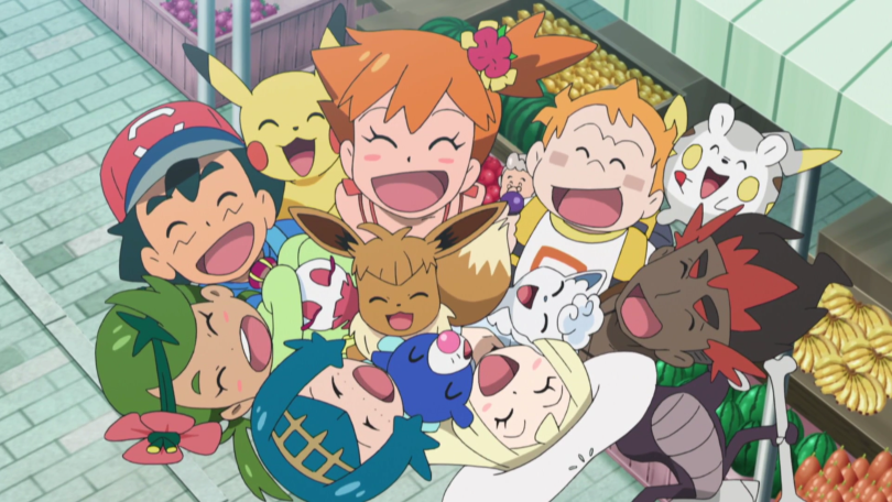 Group shot of the Alolan twerps, along with Misty, and their Pokemon cheering excitedly