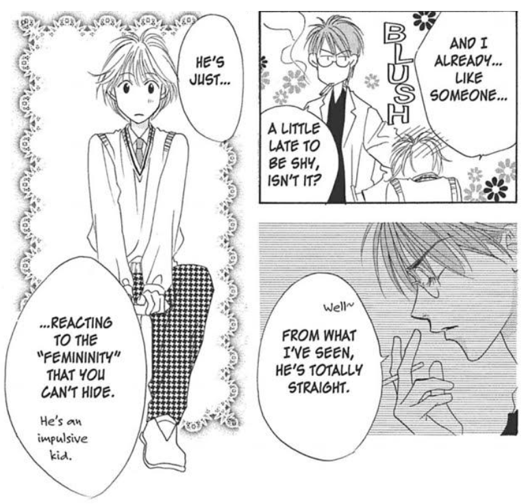 Doctor Umeda musing that a boy is reacting to an innate femininity the protagonist can't hide