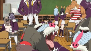 A classroom scene, animals horse around. A lone human looks perturbed.