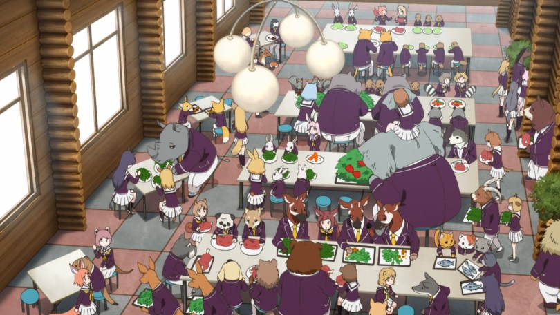 A crowded lunchroom full of animals and girls with animal ears