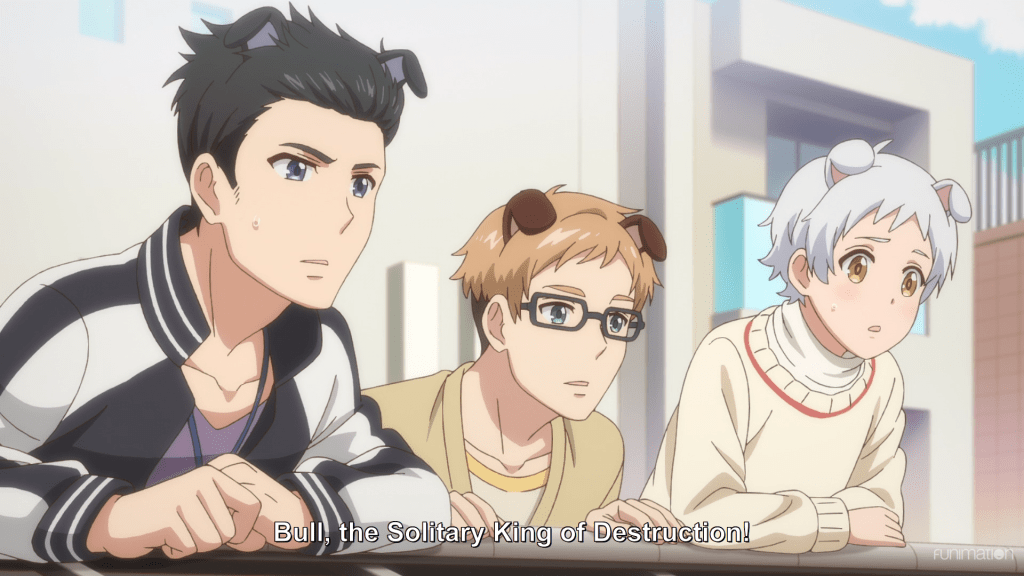 Three boys with dog ears peer over a wall with a look of concern