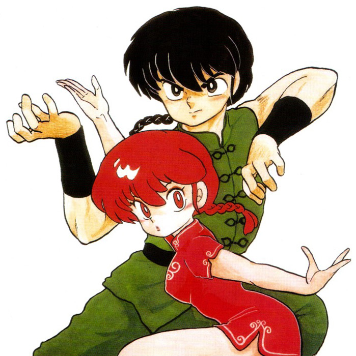Boy and girl Ranma in martial arts poses