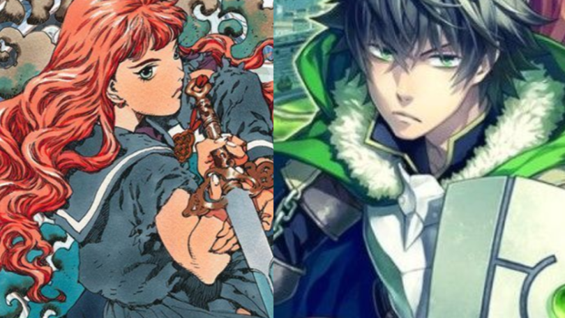 Split-screen image of Youko and Naofumi, both looking ready to fight