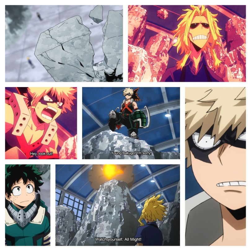 """A collage image of All Might looking up; a cracking rock; Bakugo looking angry; Bakugo in his hero costume standing atop a rock with subtitles that read """"Young Bakugo! I'm sorry!""""; Bakugo shouting """"Hey, look out!""""; All Might standing at the bottom of a rock outcropping where an explosion is happening with the subtitles """"Watch yourself, All Might!""""; and Deku looking up, concerned."""
